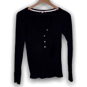 Victoria secret black thermal with buttons